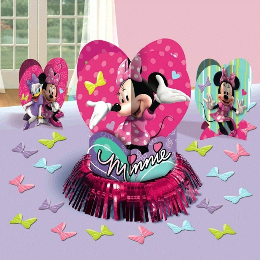 Minnie mouse table decoration kit centerpiece confetti for Baby minnie mouse party decoration