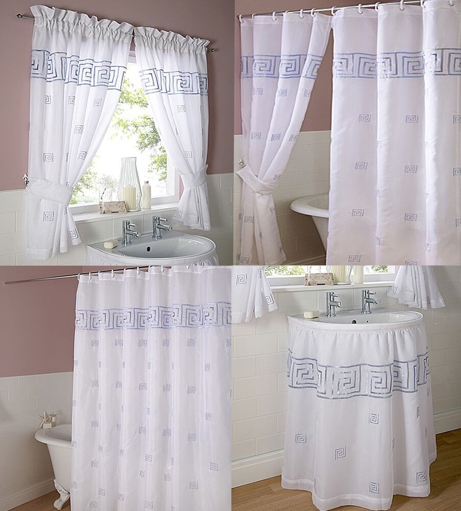 Greek key embroidered voile bathroom shower or window for Bathroom window curtains