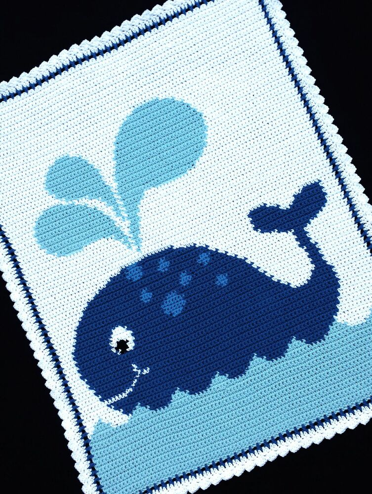 Free Crochet Baby Blanket Graph Patterns : Crochet Patterns - WHALE Graph/Chart Afghan Pattern eBay