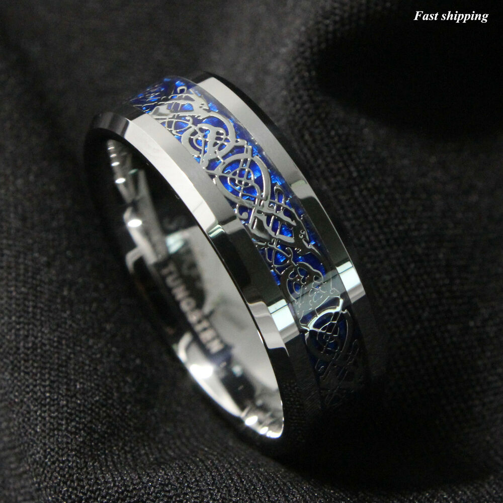Tungsten Blue Ring Celtic Dragon