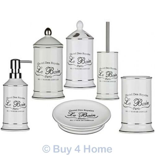 Nautical bathroom accessories uk - Le Bain Ceramic White Bathroom Accessories Freestanding Vintage Storage Set