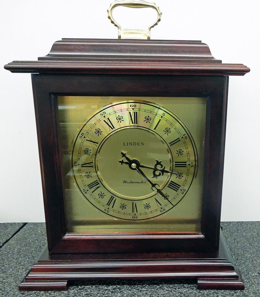 Linden Mahogany Finish Bracket Clock With Westminster