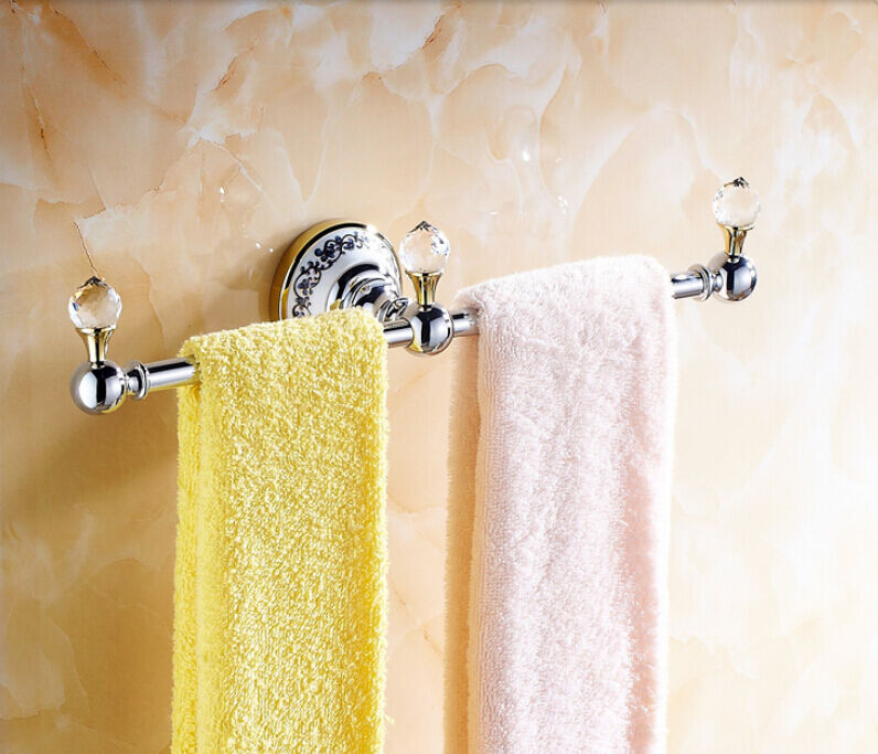 Where To Put Towel Bars In Bathroom: Chrome Brass Bath Towel Bar Wall Mounted Crystal Deco