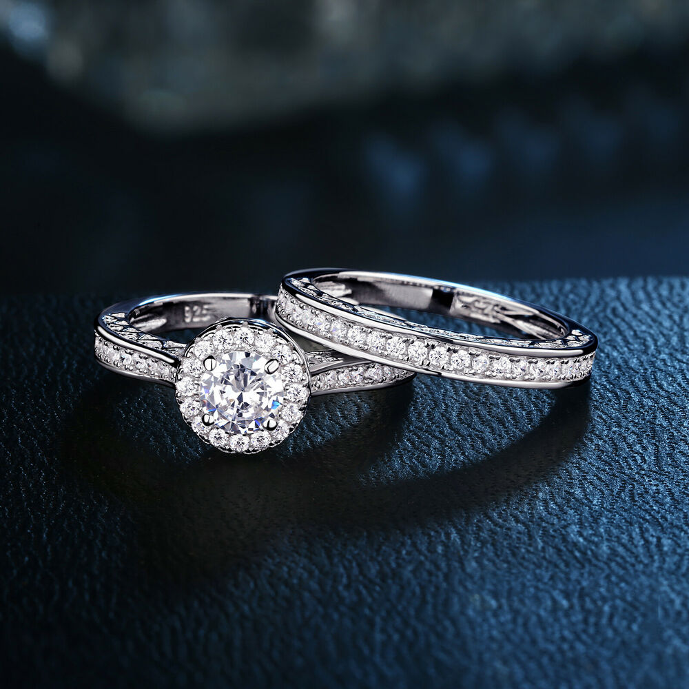 Engagement Wedding Ring Set For Women 925 Sterling Silver