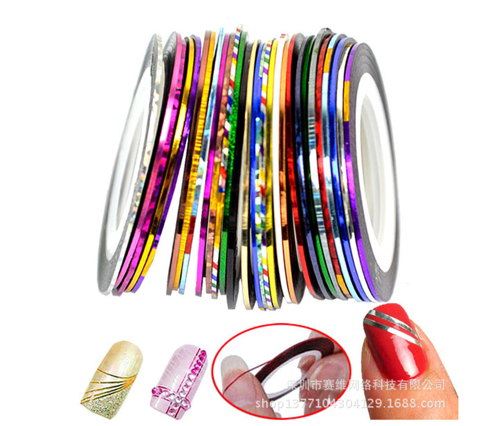 Nail Art Using Striping Tape: 12pcs Mixed Colours Pretty Rolls Striping Tape Line Nail