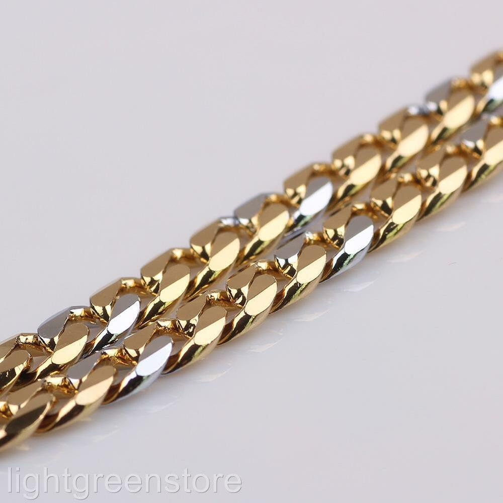 18k Yellow White Gold Filled Curb Necklace Men No Stone