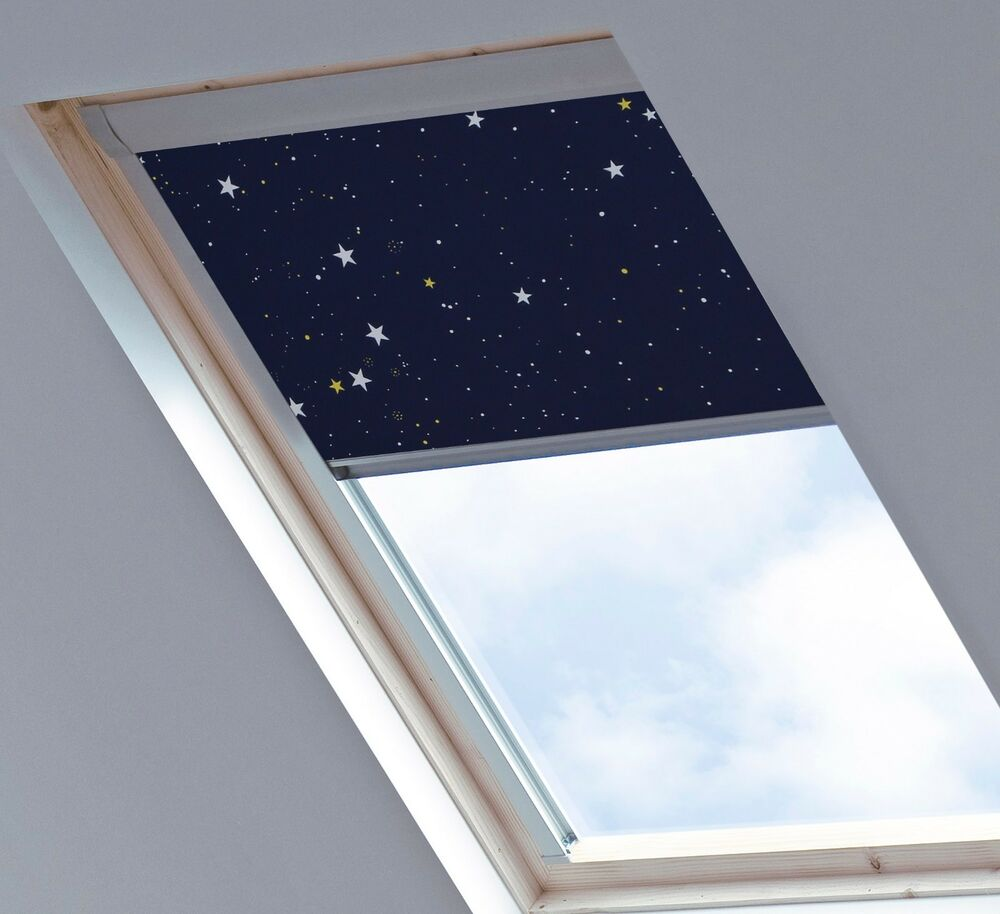 stars navy blackout skylight blinds sizes for velux fakro rooflite dakstra ebay. Black Bedroom Furniture Sets. Home Design Ideas