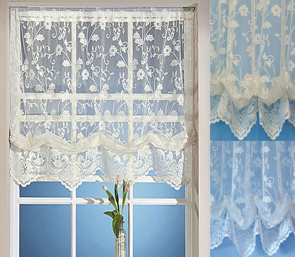 Balloon Lace Net Hook Up Blind Window Panels White Or