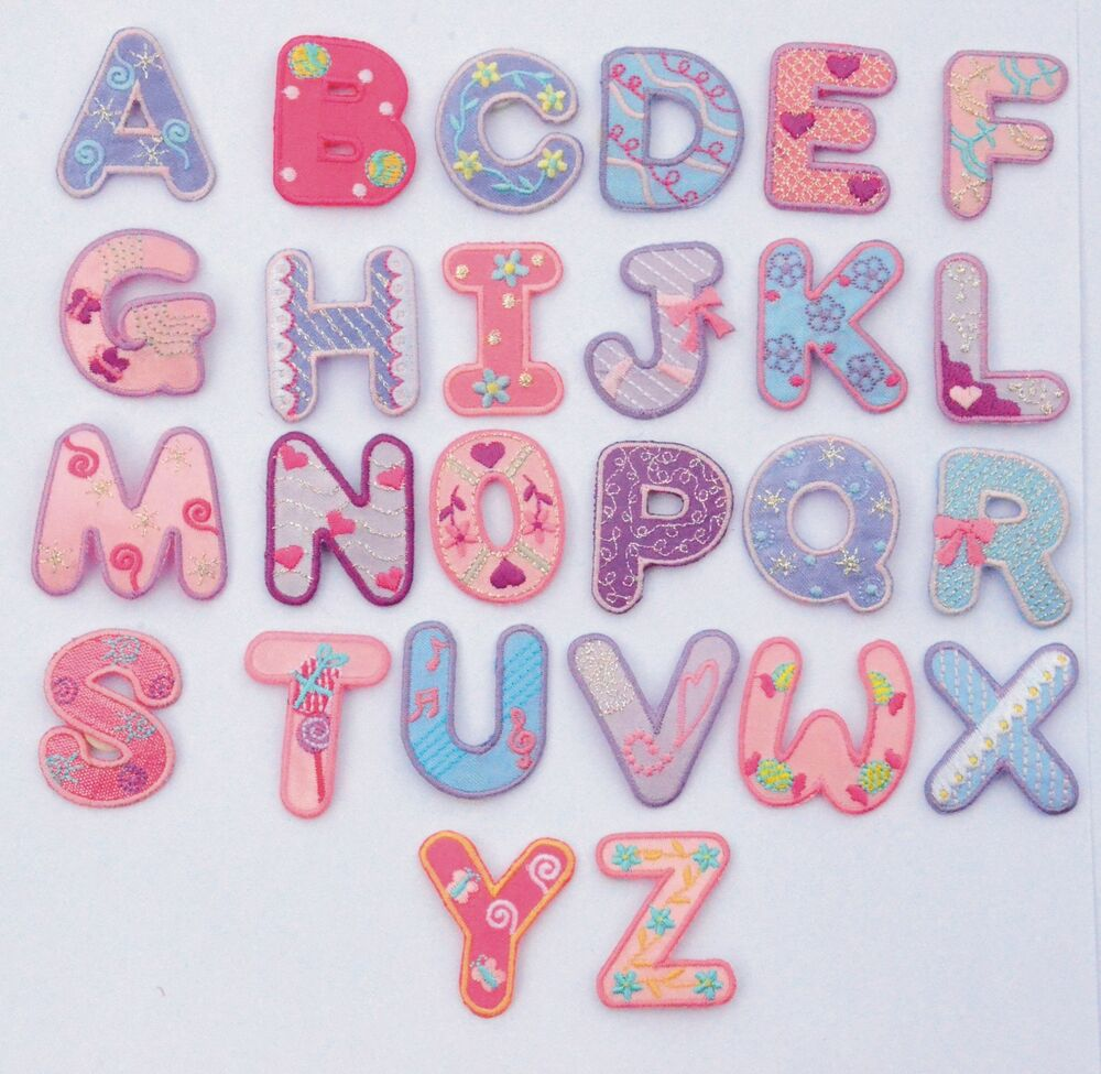 Girls alphabet letters numbers embroidered motif fabric for Embroidered alphabet letters
