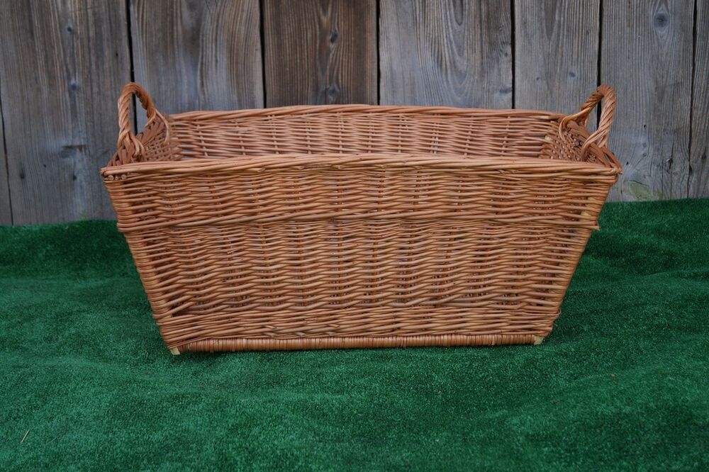 Large Wicker Willow Basket Rectangle Storage With Handle