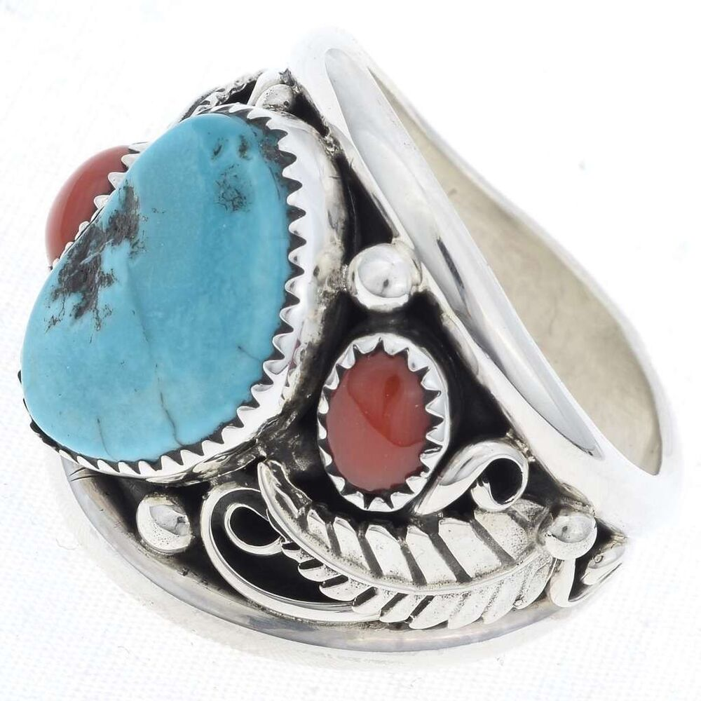 turquoise coral sterling mens ring navajo made ebay On turquoise jewelry mens rings