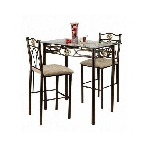 table glass bistro set counter height pub stools bar kitchen chairs