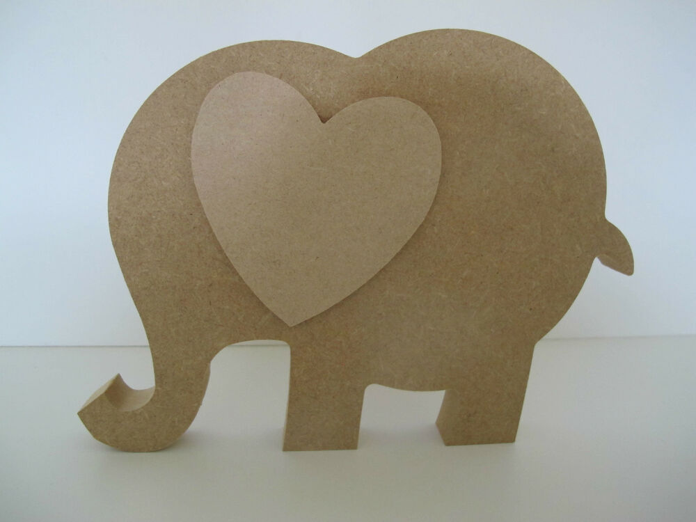 Wooden Elephant with Heart Ear Freestanding 18mm Thick ...