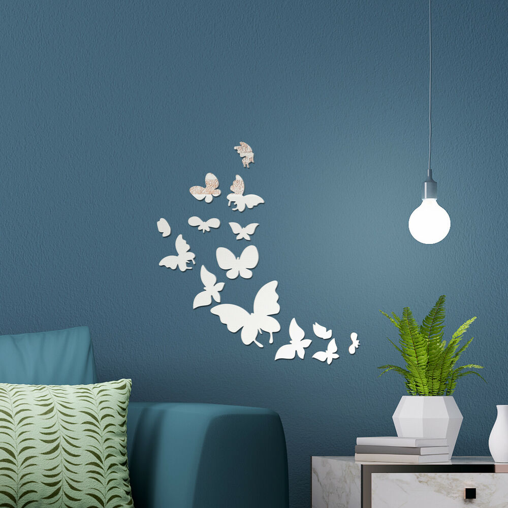 Mirror home wall art 14 butterflies decal decoration for Ebay decorations home