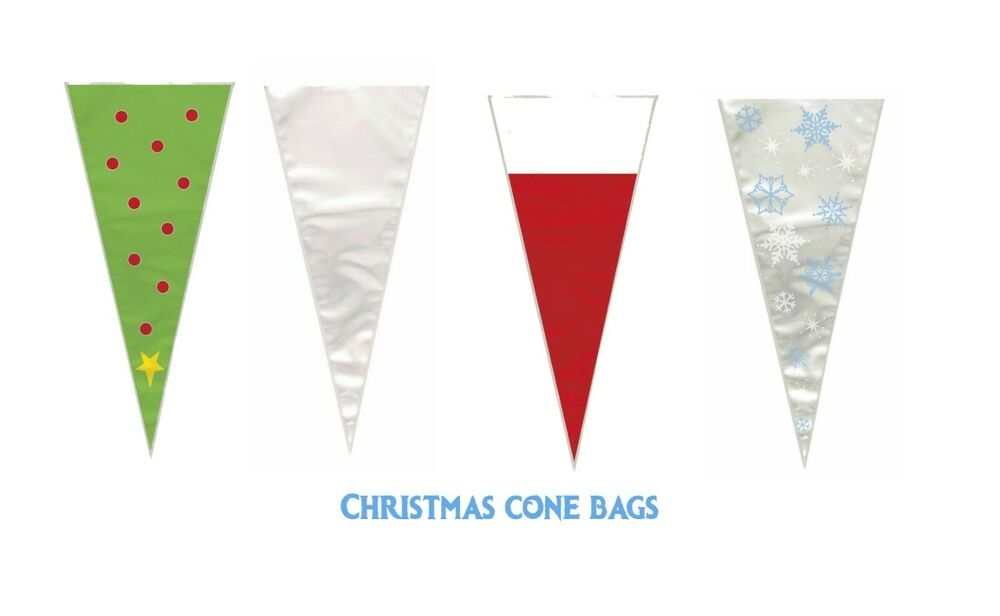 CHRISTMAS LARGE CONE CELLO CELLOPHANE BAGS WITH TIES ...