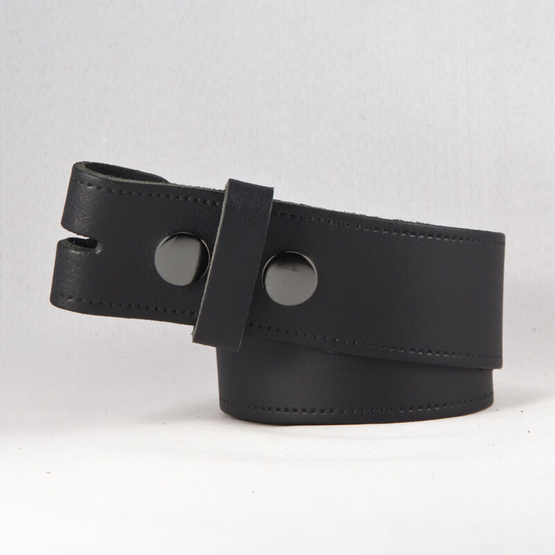 new mens leather snap on belt no buckle in black brown