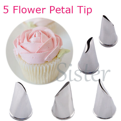 5 Style Flower Petal Icing Piping Tip Nozzles Cake ...
