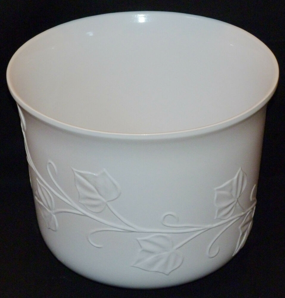 large white ceramic plant pot 9in x 11 in leaf patern right price ebay
