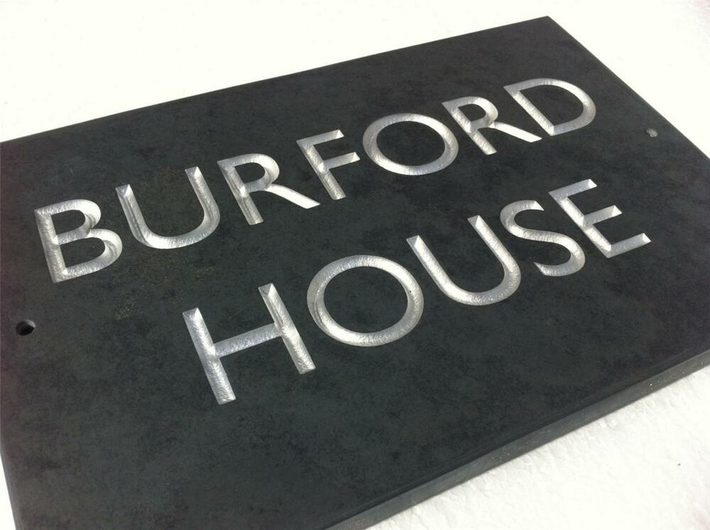 engraved slate house sign deepy cut into the stone ebay. Black Bedroom Furniture Sets. Home Design Ideas