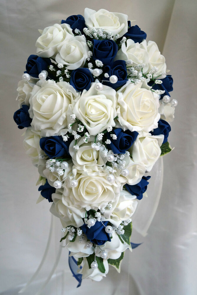 teardrop wedding bouquet ivory and navy blue roses with