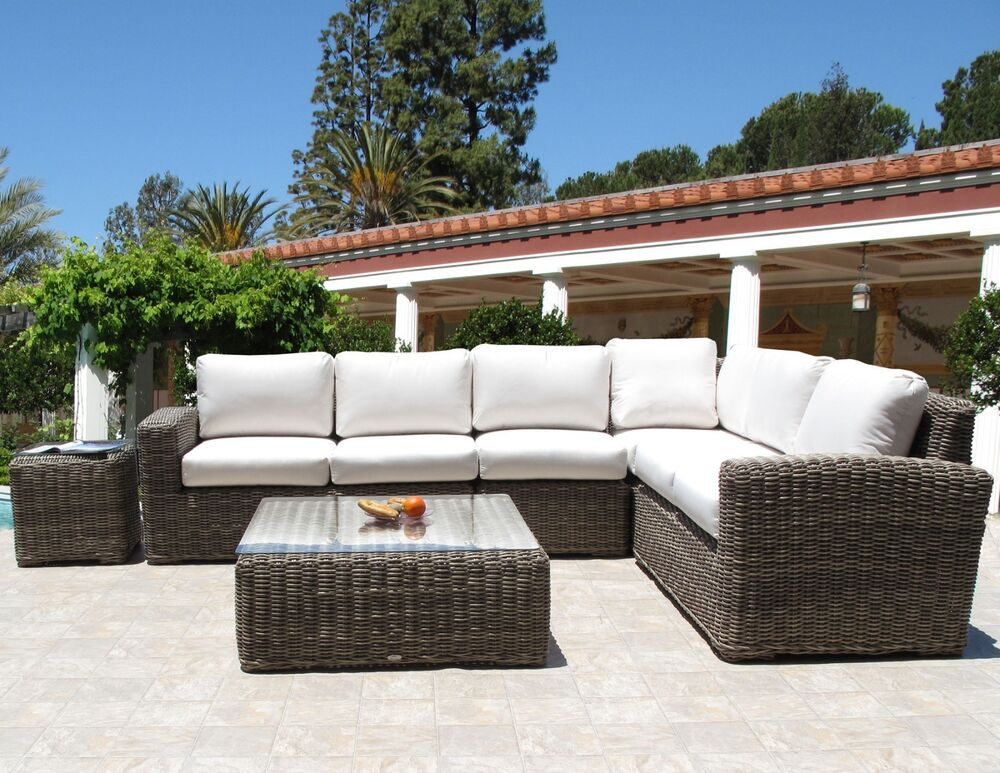 outdoor wicker monte carlo sectional 6pc furniture set sunbrella