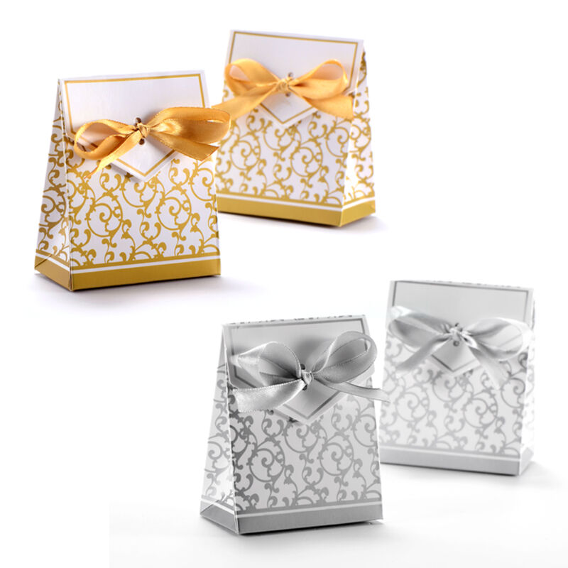 Wedding Gifts Boxes: 50pcs Candy Boxes With Ribbon Wedding Party Favor Gift Box