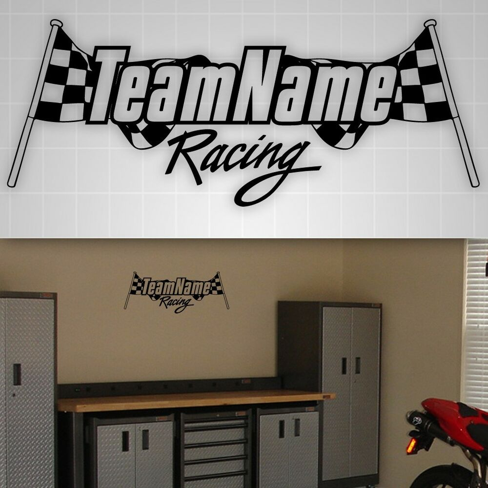 Racing Personalized Checkered Flag Sticker Garage Truck