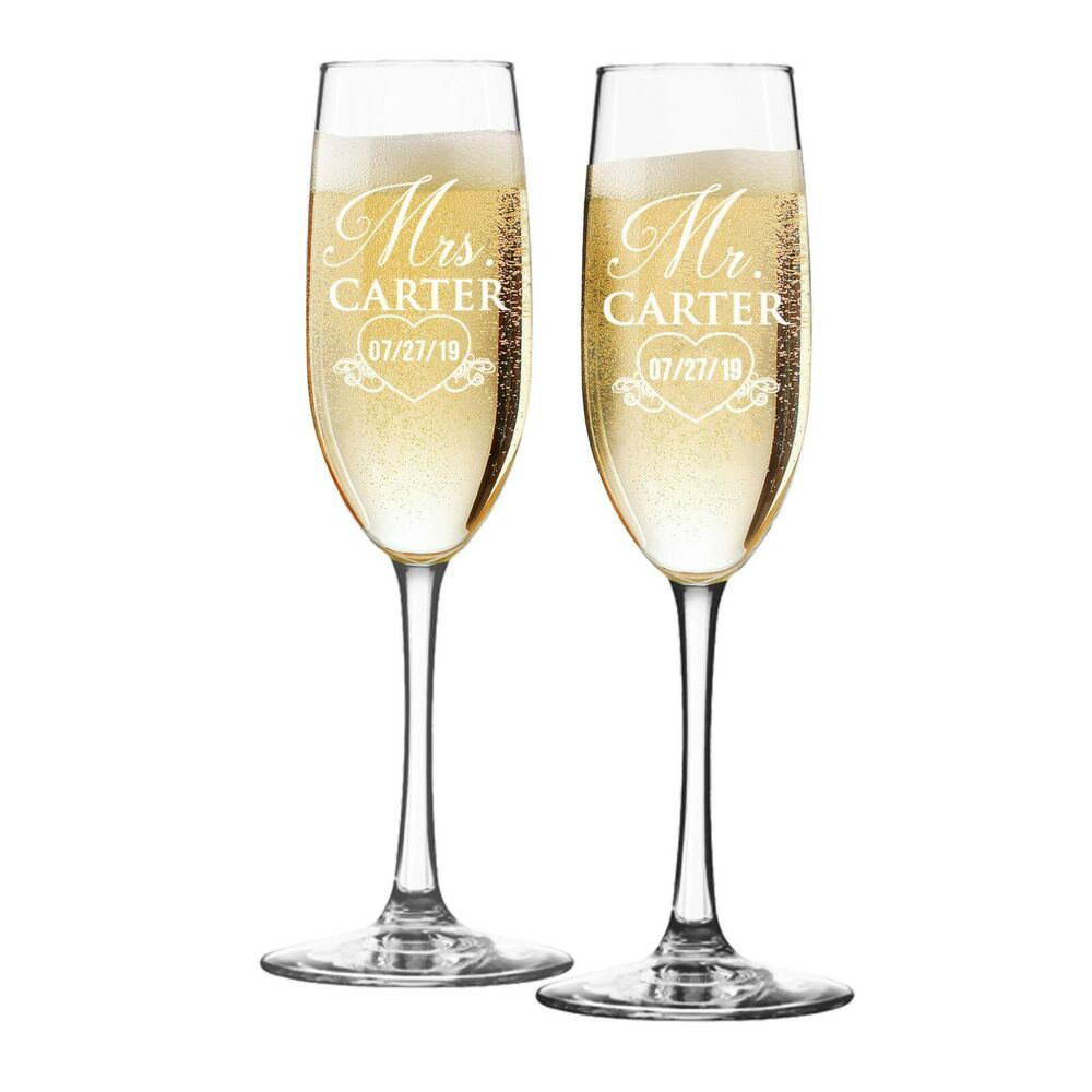 set of 2 personalized champagne glass toasting flute. Black Bedroom Furniture Sets. Home Design Ideas