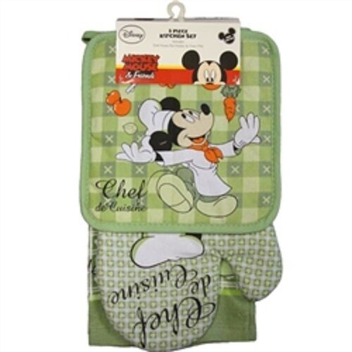 disney authentic chef mickey mouse 3 pc kitchen set towel