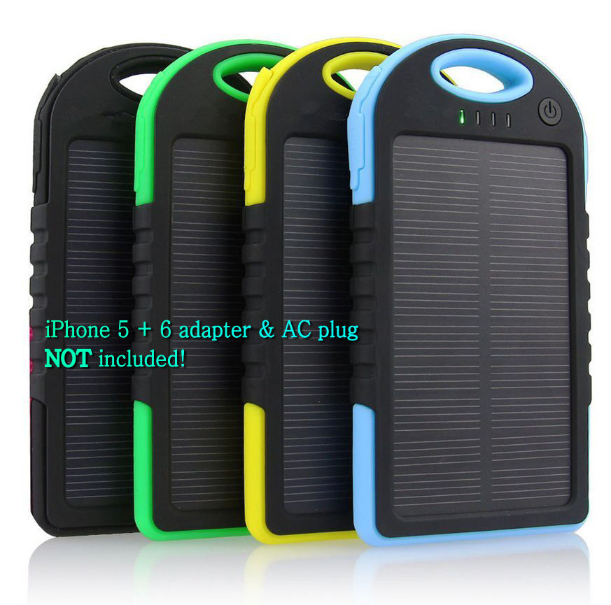 5000 mAh Dual USB Waterproof Solar Power Bank Battery Charger for Cell ...