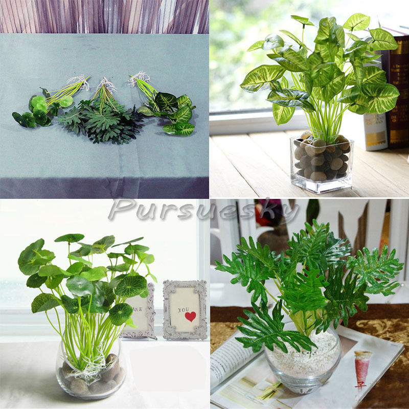 Artificial green leaves poted plant flower diy home office for Artificial plants for decoration