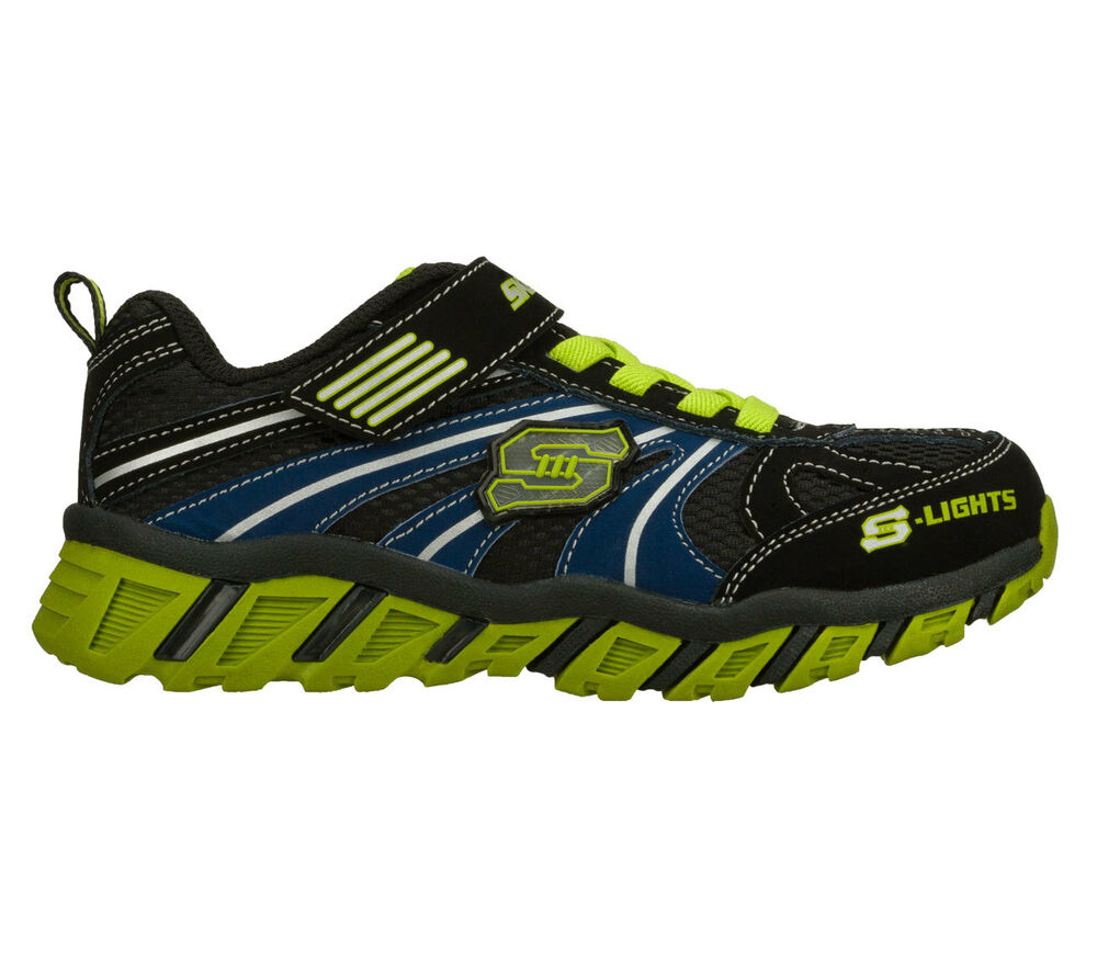 boy 39 s skechers s lights light up sneakers blue green black brand new. Black Bedroom Furniture Sets. Home Design Ideas