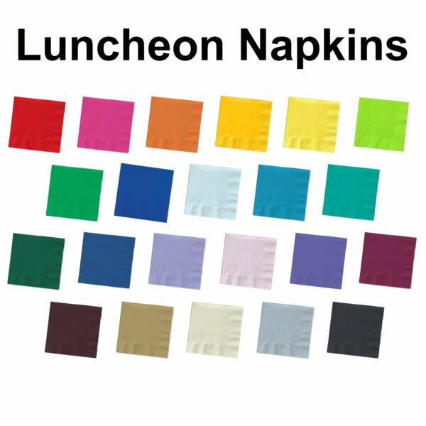 2-ply Paper Square Luncheon Napkins - Solid Colors- Disposable Dinner Bar Party