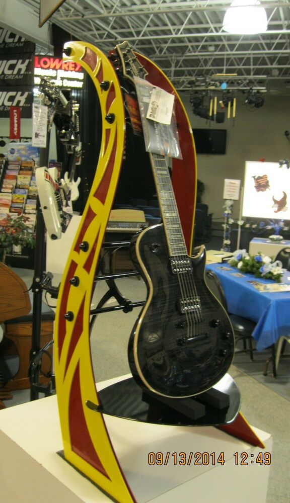 rhapsody badazz guitar stand custom guitar yellow and red metal guitar stand ebay. Black Bedroom Furniture Sets. Home Design Ideas