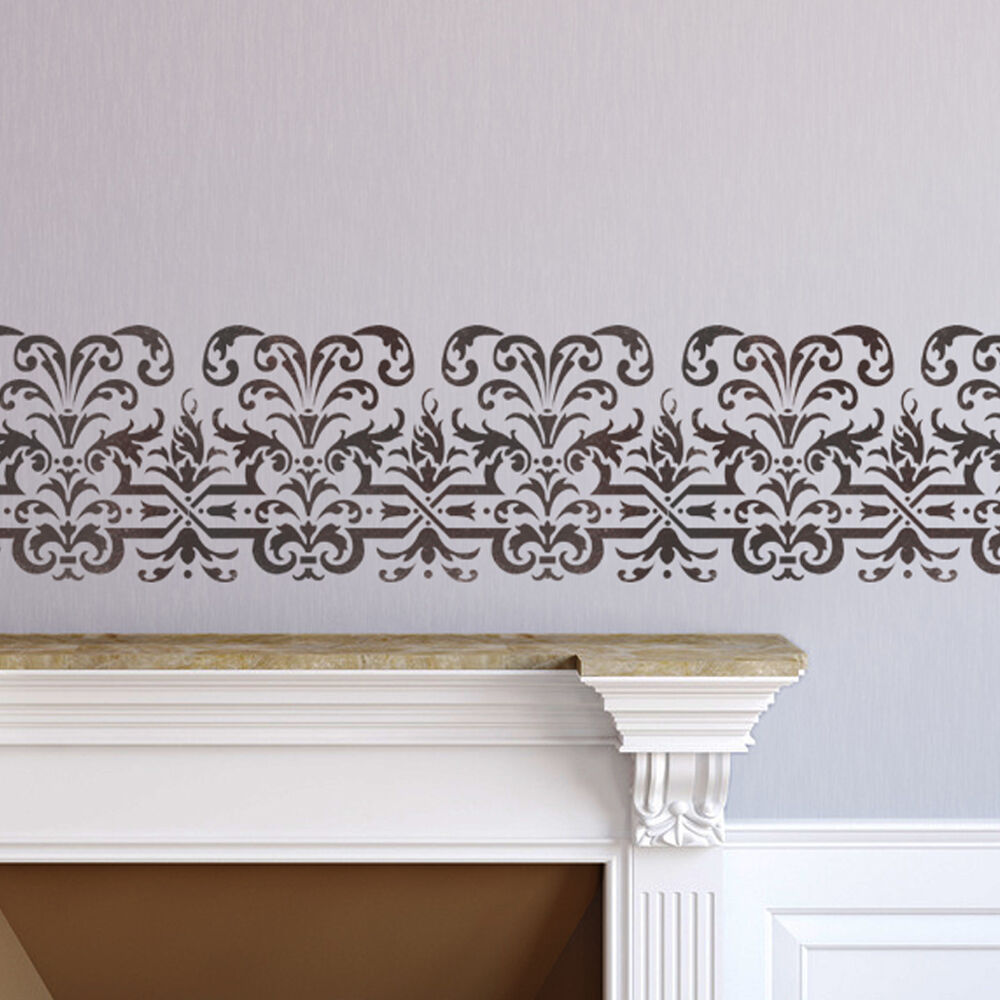 wall pattern stencil reusable border stencils cerise for. Black Bedroom Furniture Sets. Home Design Ideas