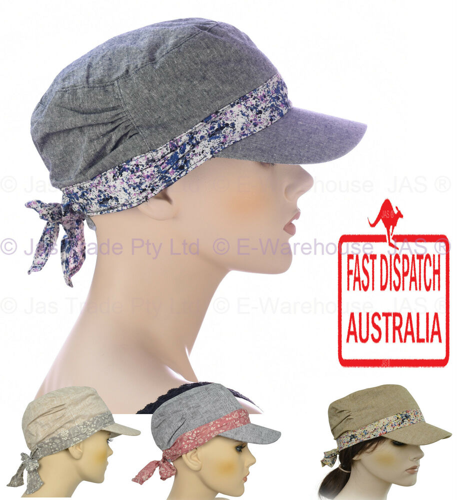 Details about Girl Ladies Woman Full Cotton Chemo Visor Wrap Soft Lining Hat  Army Cap S SMALL 37a8ef648d6