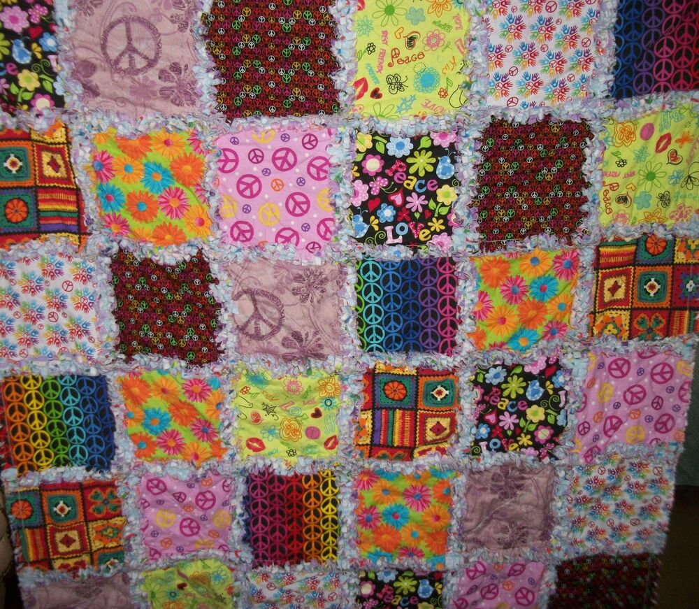 Free Quilt Patterns For Throws : Peace Rag Quilt Baby Quilt, Lap Quilt Throw eBay