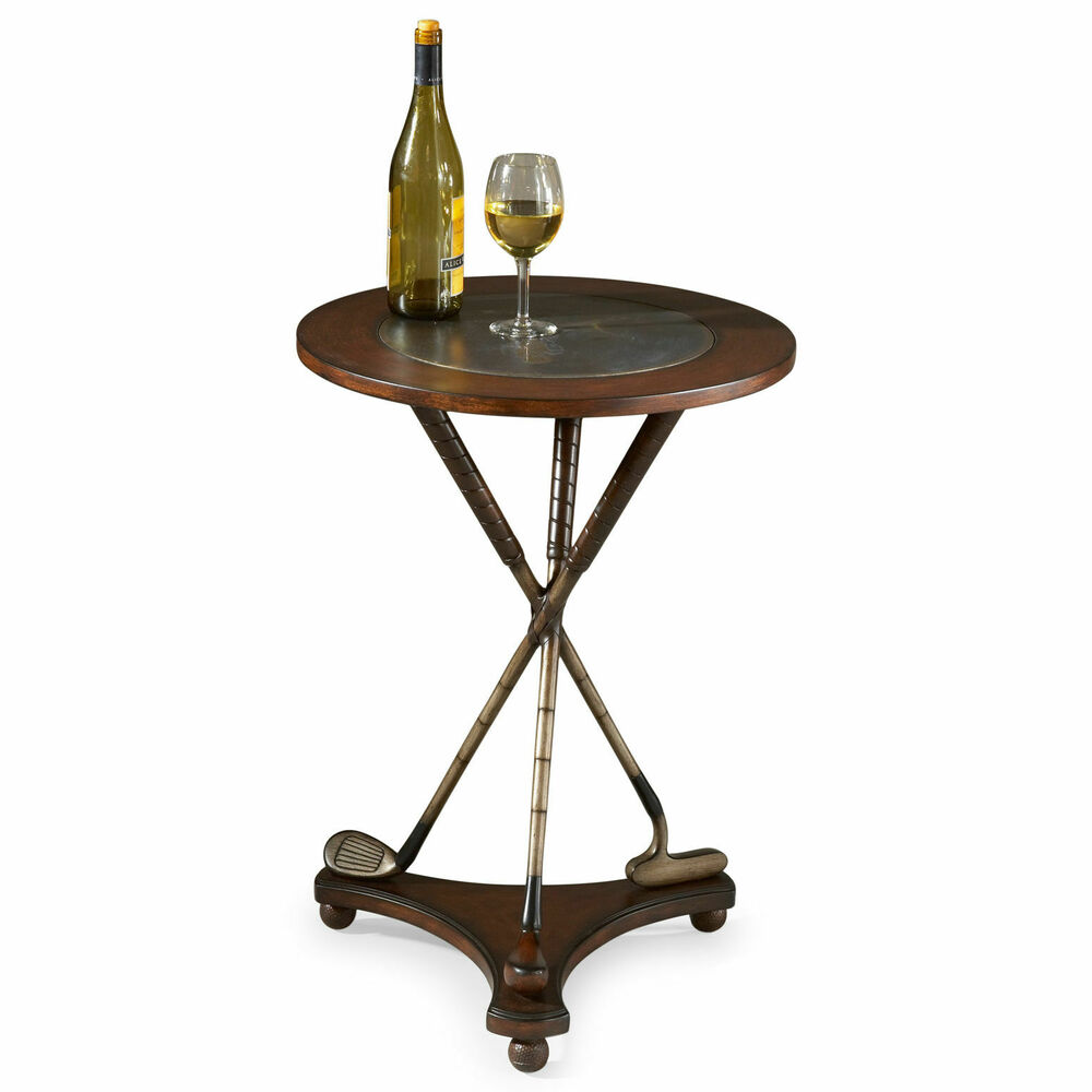 Hideout End Table Free Shipping: ROUND TABLE WITH STYLIZED GOLF CLUB