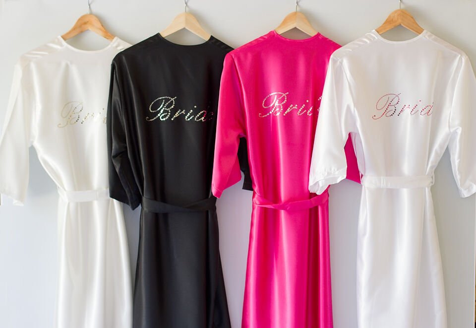 Personalised Bride Bridesmaid Satin Robe Dressing Gownwedding Text Sparkles