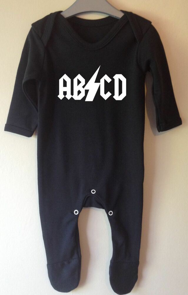 ACDC Logo Short Sleeve Bodysuit Baby Grow. Crafted in pure cotton, they are designed with short sleeves, popper fastenings for easy nappy changing. Baby distressed short sleeve bodysuit by Amplified.