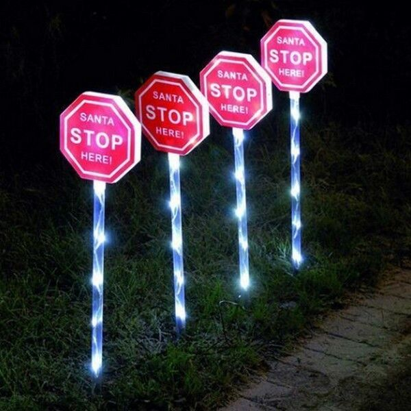 here signs outdoor christmas lights with garden ground stake ebay. Black Bedroom Furniture Sets. Home Design Ideas