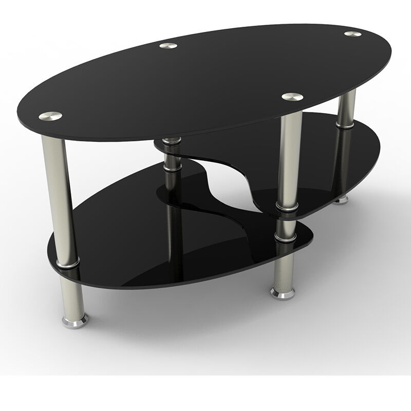 Design Black Glass Oval Coffee Table With Shelves And Chrome Legs Living Room Ebay