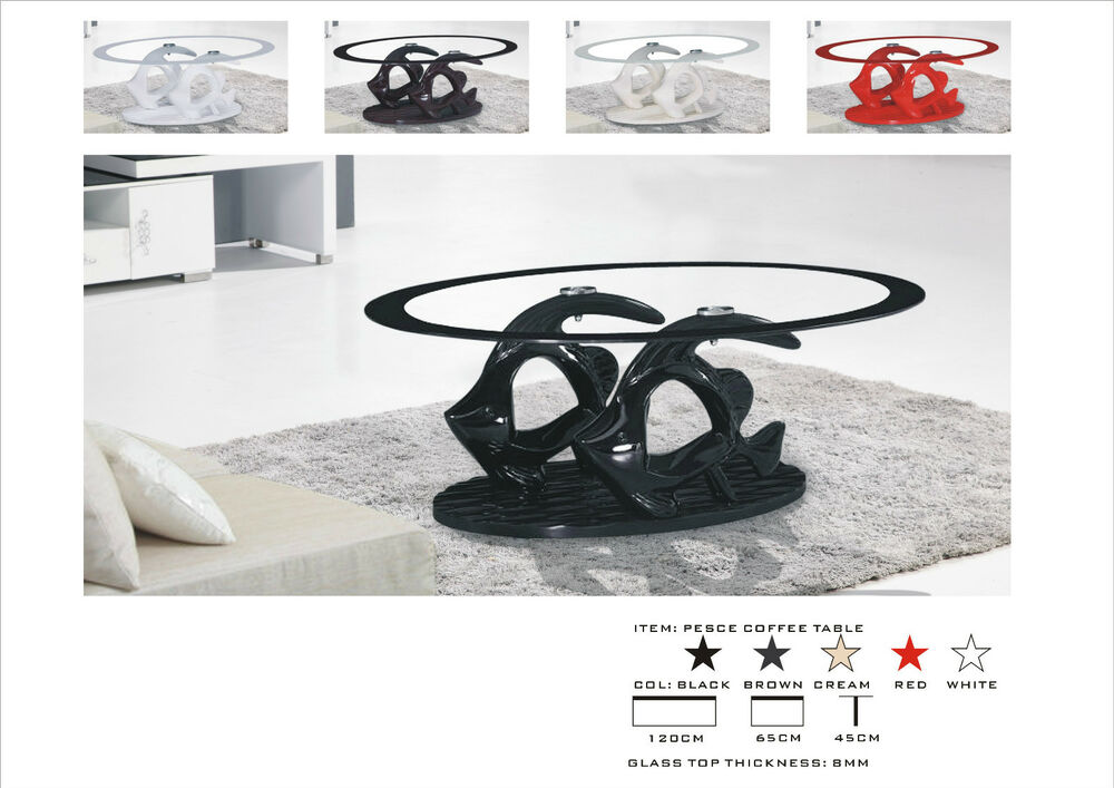 Black brown cream white glossy coffee table with matching for Cream glass coffee table