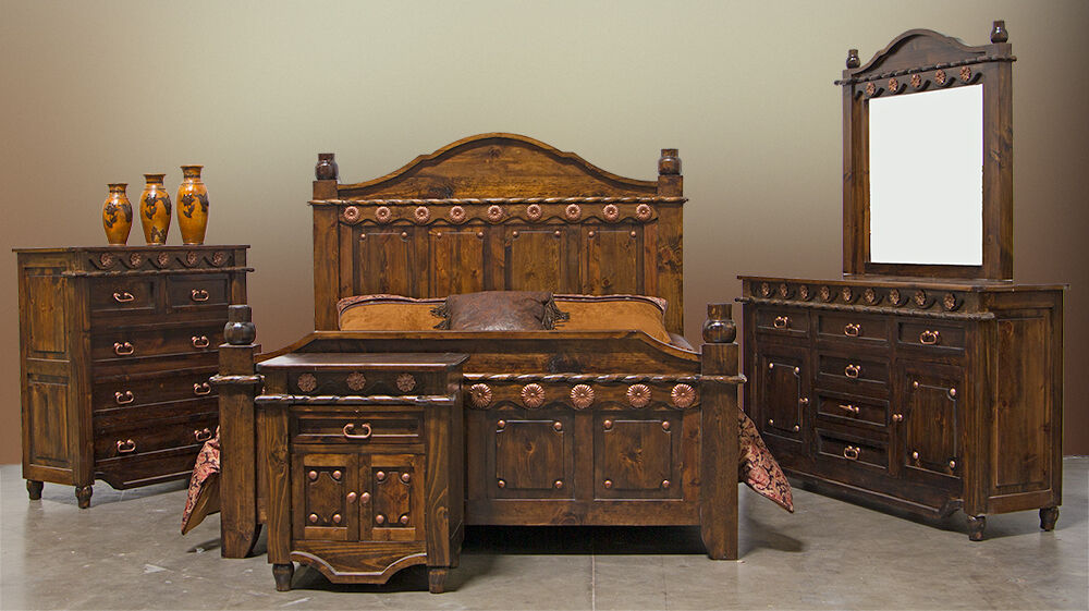 grand dark walnut bedroom set copper accents real wood