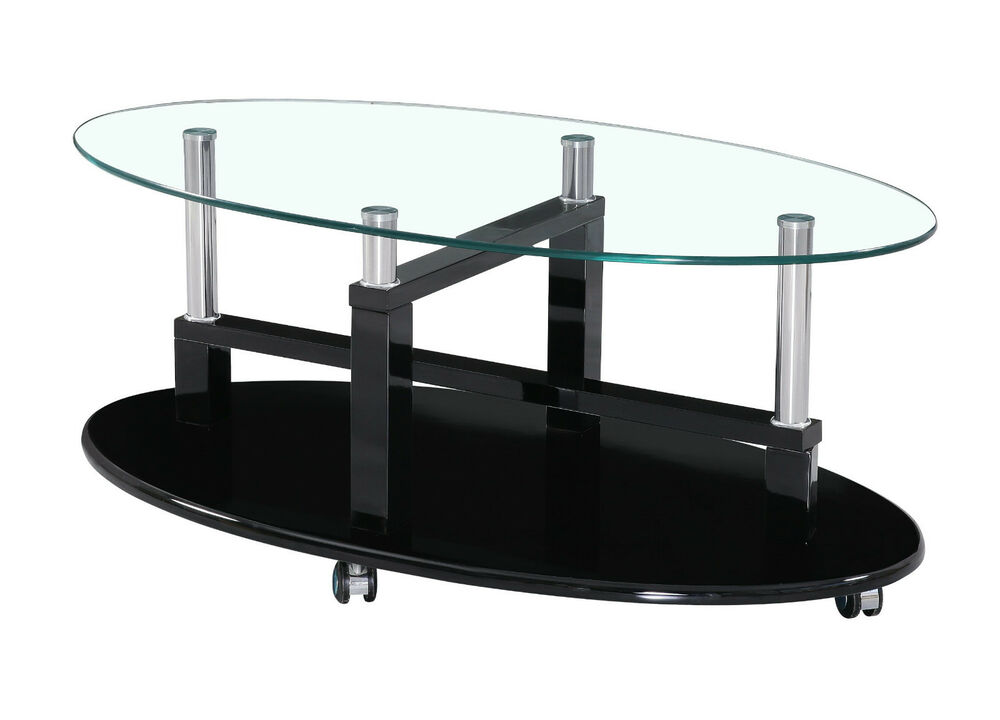 Black Brown Cream Red White High Gloss Clear Glass Coffee Table Lockable Wheels Ebay