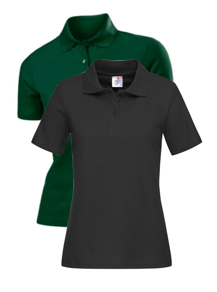 Womans Womens Ladies Plain 65 35 Polycotton Polo Sports