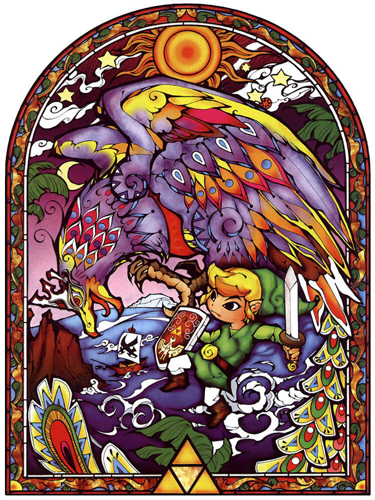 Zelda Amp Link Stained Glass 4 Collection Wall Poster 24