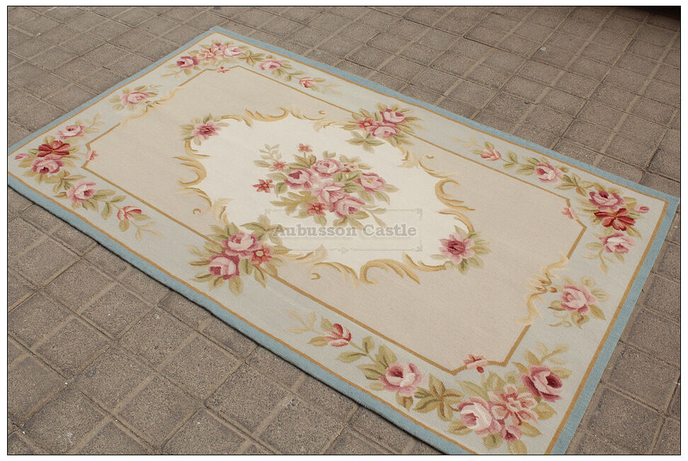 3x5 Light Blue Cream French Aubusson Area Rug Shabby Pink