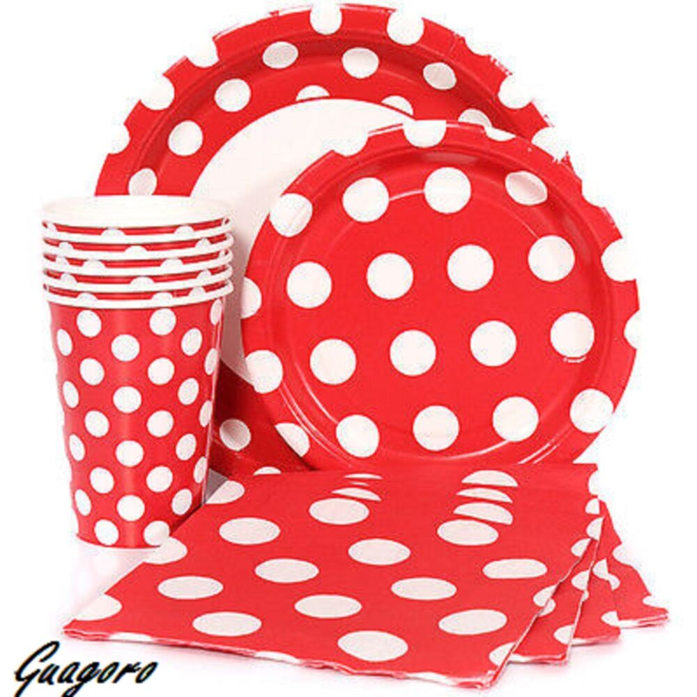 40 red polka dot plates napkins cups birthday mickey for Red and white polka dot decorations
