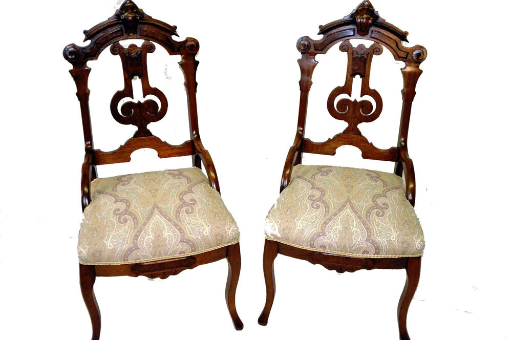 Pair Victorian Eastlake Intricately Carved Parlor Chairs, Solid Walnut c. 1880u0026#39;s : eBay